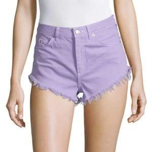 TOPSHOP Kiri High Waist Frayed Hem Shorts
